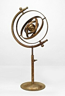 Italian Renaissance style (20th Cent) chrome armillary globe with a rust patina