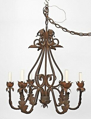 Italian Renaissance Style (20th Cent) Wrought Iron Chandelier with 6 Scroll Arms