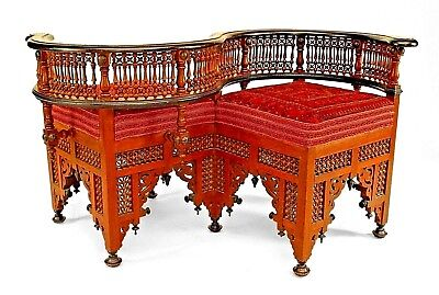 Middle Eastern Moorish Style (19th Cent.) Walnut Carved Tete-A-Tete