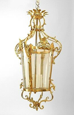 French Louis XVI style (20th Cent) gilt bronze lantern with a 3 light center wit