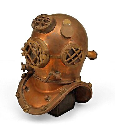 American (early 20th Cent) copper and  brass model of a diver's helmet mounted o