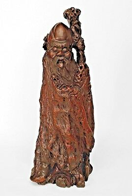 Asian Chinese (19th Cent.) Carved Root Figure of a Standing Diety Figure