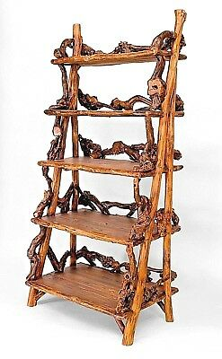 Rustic Adirondack Style (Modern) Etagere Bookcase with 5 Step-Back Shelves