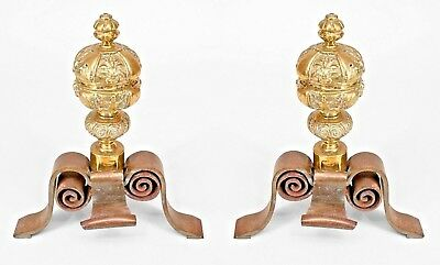 Pair of Italian Neo-Classic Style Andirons with a Large Brass Ball Top