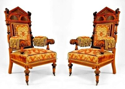Pair of Russian (mid 19th Cent) Oak Carved Arm Chairs