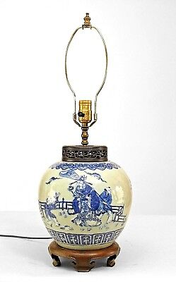 Asian Chinese style (19th Cent) celadon porcelain lamp with blue figural scene