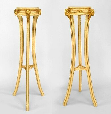 Pair of Italian Neo-Classic (late 18th Cent) Painted & Gilt Trimmed Pedestals