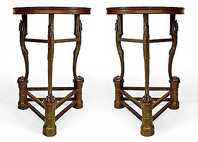 Pair of Continental (poss. Austrian-19th Cent) Statuary Bronze Round Tables