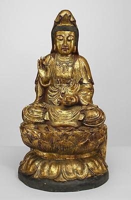 Asian Chinese Asian style gilt carved figure of seated Guan Yin Buddha on a lotu