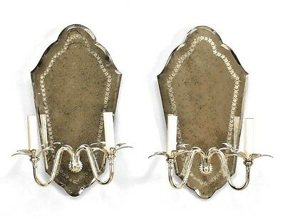Pair of Italian Neo-classic Style (20th Cent) Mirror Wall Sconces