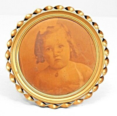 American Victorian Round Brass Easel Picture Frame with Twisted Design Border
