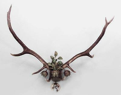 Rustic German (19th Cent.) antler wall sconce with 3 metal floral design lights