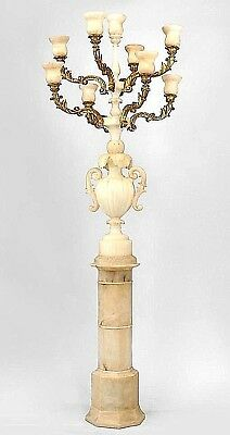 Pair of Italian Rococo Style White Alabaster 9 Light Floor Torchiere
