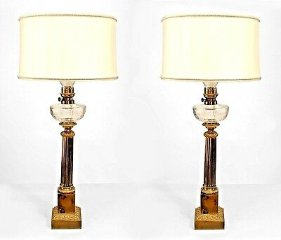 Pair of English Victorian Brass Fluted Column Table Lamps with Crystal Fount