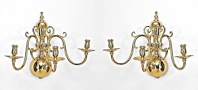 Pair of English Georgian Style (Modern) 3 Light Sconces with Scroll Design Arms