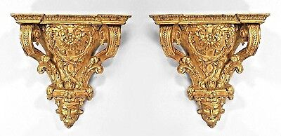 Pair of French Regence Style (20th Cent) Gilt Carved Wall Shelves