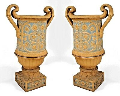 Pair of Neoclassical English Adam Style (19th Cent) Coade Stone Urns
