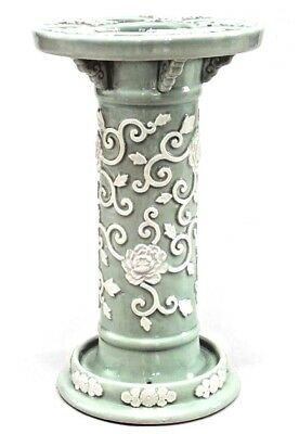 English Victorian Style (19/20th Cent) Celadon & White Porcelain Umbrella Stand
