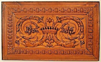 Italian Neo-classic style (19th Cent) carved walnut panel with relief carvings o