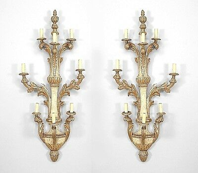 Pair of Italian Neo-classic (18/19th Cent) Gilt Trimmed 3 Tier Wall Sconces