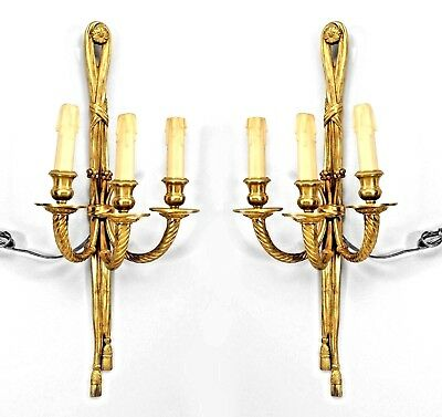 Pair of French Louis XVI Style (20th Cent) 3-light Sconces