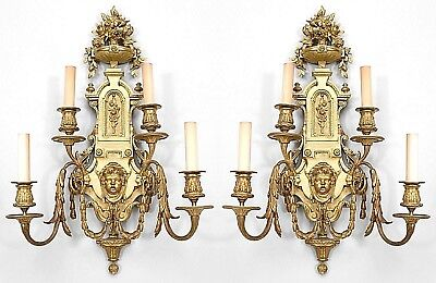 Pair of French Victorian (19th Cent) Bronze 4 Light Wall Lights (Sconces)