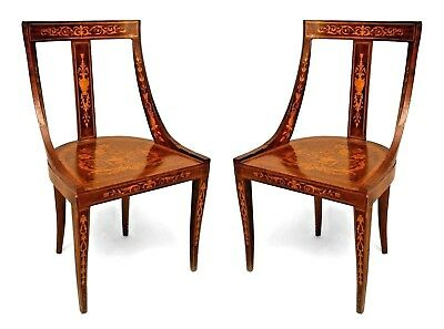 Pair of English Edwardian side chairs with faded mahogany veneer and satinwood i