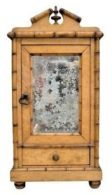 French Faux Bamboo Maple Miniature Armoire with a Large Mirrored Door