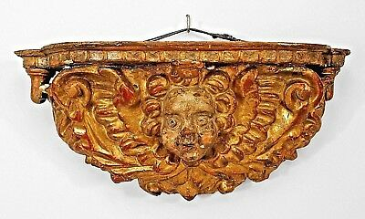 Italian Venetian (17/18th Cent) Gilt Wood Carved Wall Bracket with Winged Angel