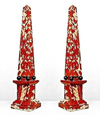 Pair of Italian Neo-Classic Style (late 19th Cent) Rouge & White Marble Obelisks