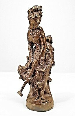 French Victorian Bronze Small Figure of a Young Woman