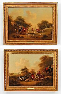 Pair of English Georgian (18th Cent) Oil Paintings of Hunt Scenes