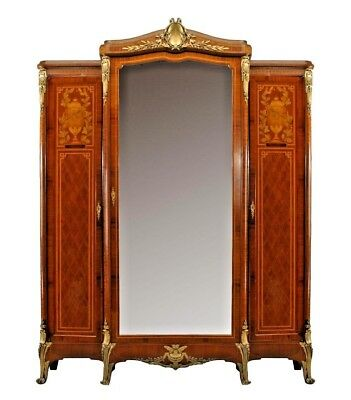 French Louis XVI style (19th/20th Cent) satinwood armoire consisting of three ca