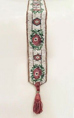 American Victorian Multi Colored Beaded Glass Bell Pull