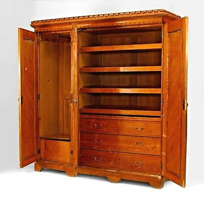 English Arts & Crafts Pine Armoire Cabinet