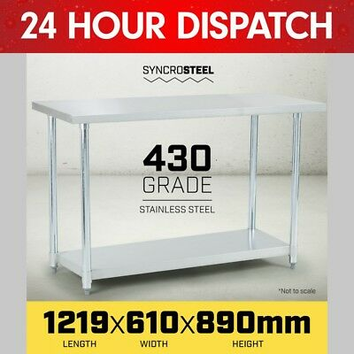 1219 x 610mm STAINLESS STEEL 430 COMMERCIAL WORKBENCH BENCH TABLE