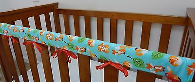 1 x Baby Cot Rail Cover Crib Teething Pad - Foxes on Aqua 100% Cotton *REDUCED*