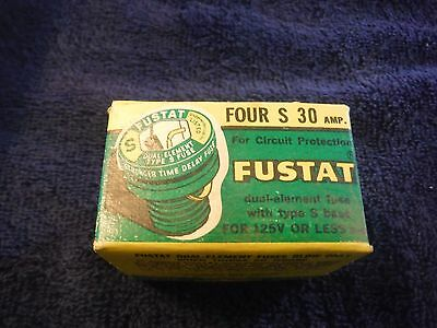 Buss Fustat S 30 AMP AC fuse Buss NOS box of 4 fuses dual element S type S 30