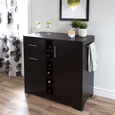 South Shore Furniture Vietti Bar Cabinet with Bottle and Glass Storage, Black Oa
