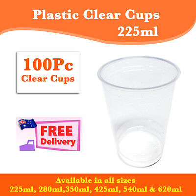 Disposable Plastic Cups Clear Cup 100 Pc 225ml Drinking Water Cup Party