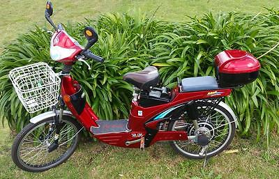 Used Electric Bicycle 48 Volt SLA 200 Watt Bike Red with new batteries