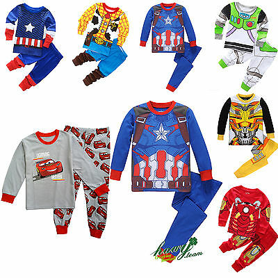 Marvel Cartoon Sleepwear Baby Kids Boys Girls Cotton Nightwear Pj's Pyjamas Set