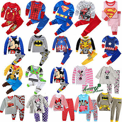 Cartoon Kids Toddler Baby Boys Girls Pyjamas Pajamas 2Pcs Set Sleepwear Clothes