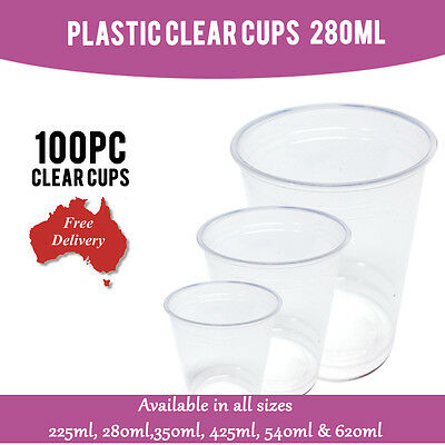 Disposable Plastic Cups Clear Cup 100 Pc 280ml Drinking Water Cup Party