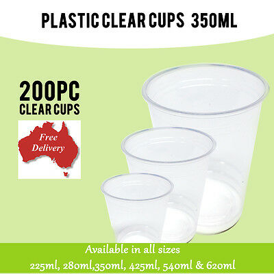 200 Pc Disposable Plastic Cups Clear Cup 350ml Drinking Water Cup Party
