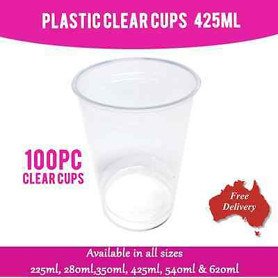 Disposable Plastic Cups Clear Cup 425 ml 100 Pc Drinking Water Cup Party