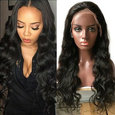 Glueless Lace Front Wigs Malaysian Virgin Human Hair Body Wave Hair Full Wig 1B