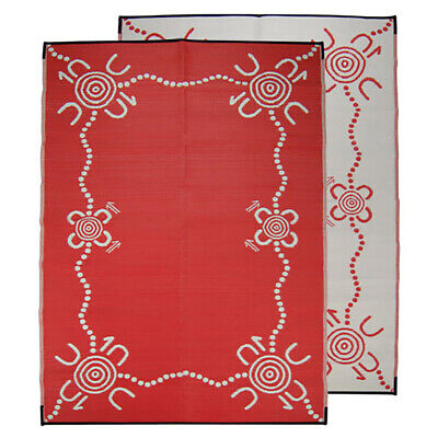 RECYCLED Plastic Outdoor Rug | ABORIGINAL Design, Rectangle in Red & White