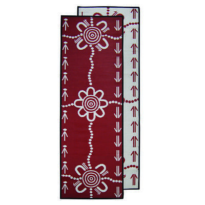 Plastic Outdoor Rug Runner | ABORIGINAL Design, 2.7m in Burgundy & White