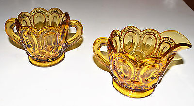 Vintage Cream And Sugar Cups. Amber Glass. Very Nice Pattern. Usa Seller.